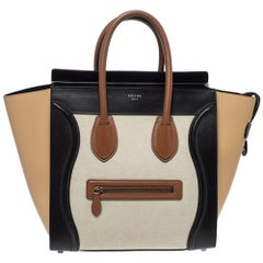 Celine Multicolor Leather and Canvas Mini Luggage Tote