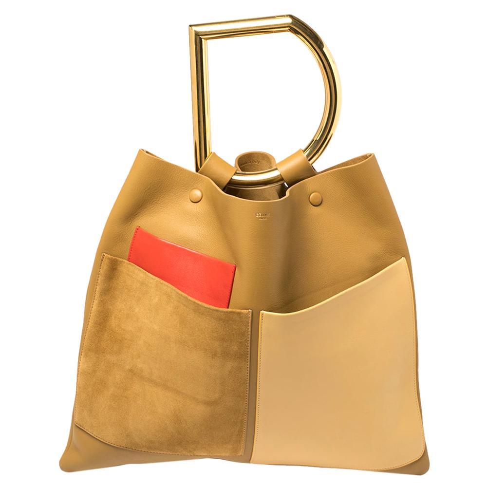 Celine Multicolor Leather And Suede Geometric Bag