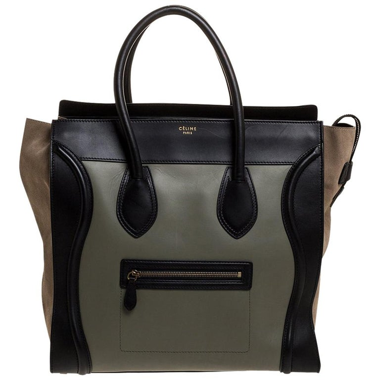 Celine Multicolor Leather and Suede Medium Luggage Tote