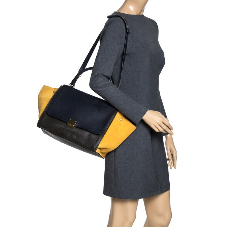 Black Celine Multicolor Leather and Suede Medium Trapeze Bag For Sale