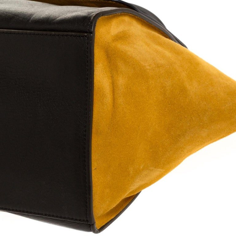 Celine Multicolor Leather and Suede Medium Trapeze Bag For Sale 3
