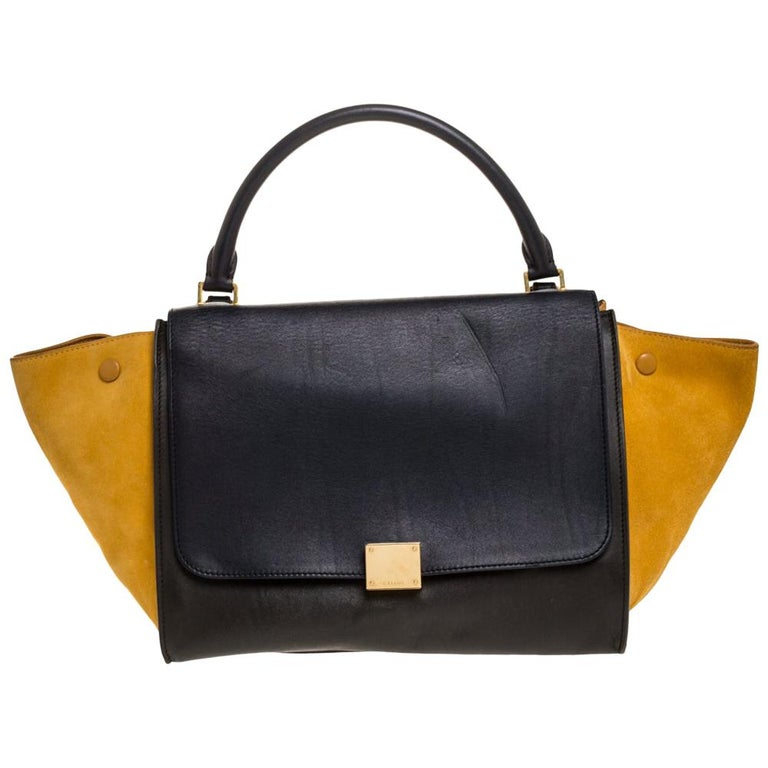 Celine Multicolor Leather and Suede Medium Trapeze Bag For Sale