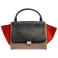 Celine Multicolor Leather and Suede Medium Trapeze Bag