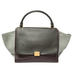Celine Multicolor Leather and Suede Medium Trapeze Top Handle Bag
