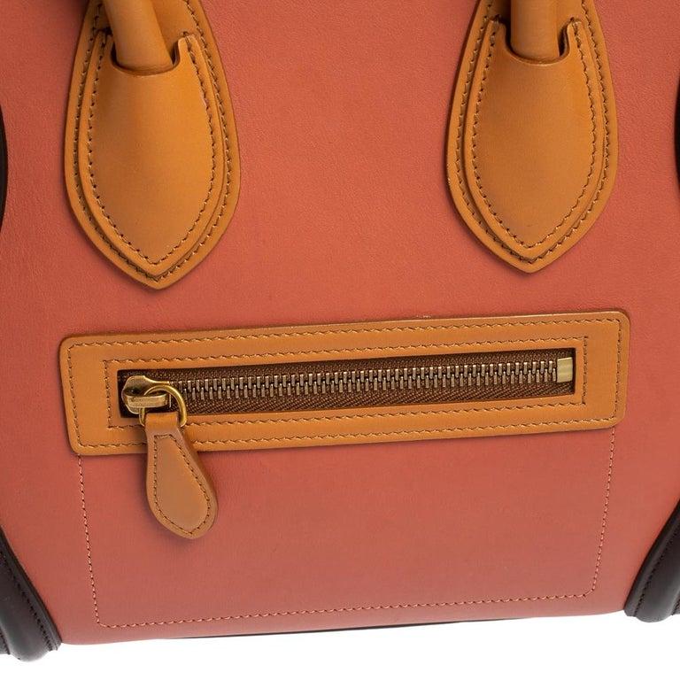Celine Multicolor Leather Micro Luggage Tote For Sale 7