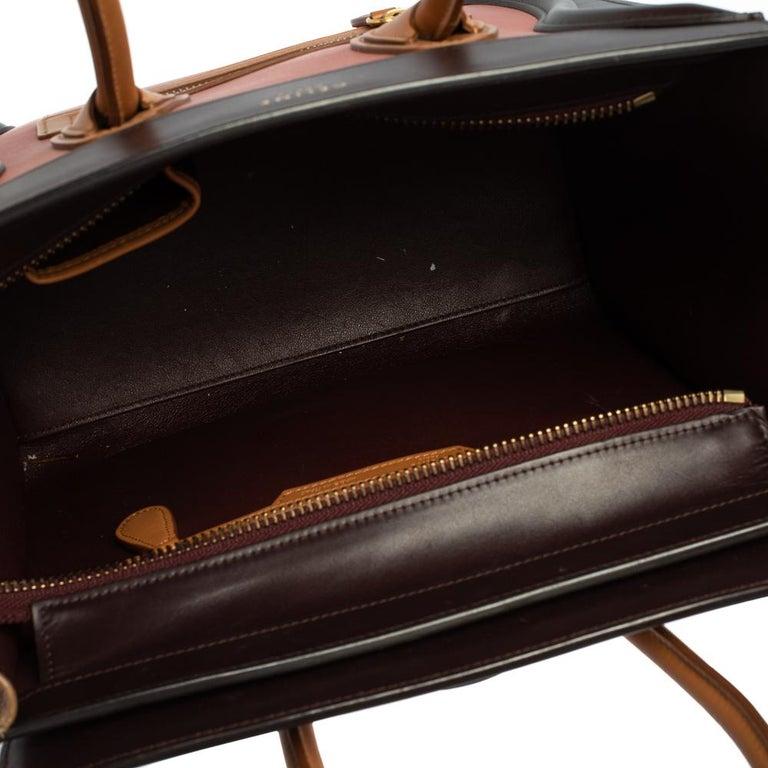 Celine Multicolor Leather Micro Luggage Tote For Sale 9
