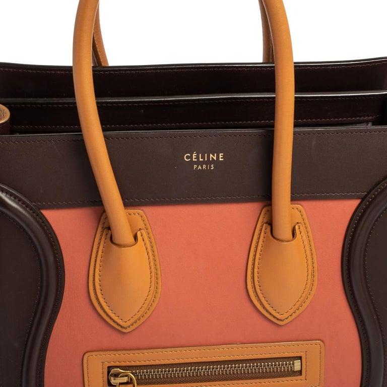 Celine Multicolor Leather Micro Luggage Tote For Sale 10