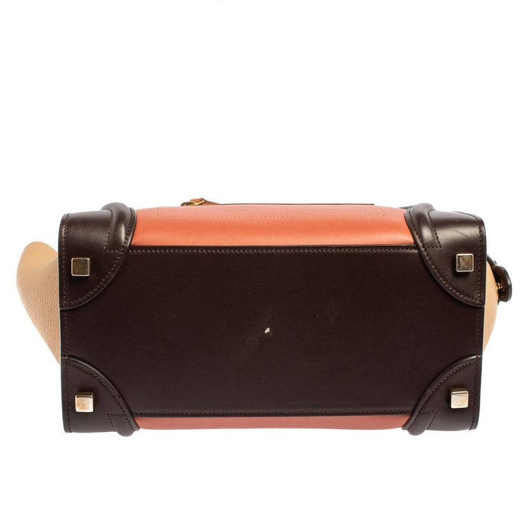 Celine Multicolor Leather Micro Luggage Tote For Sale 11