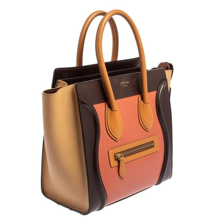 Orange Celine Multicolor Leather Micro Luggage Tote For Sale