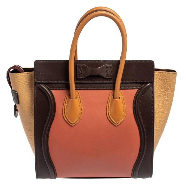 Celine Multicolor Leather Micro Luggage Tote In Good Condition For Sale In Dubai, Al Qouz 2
