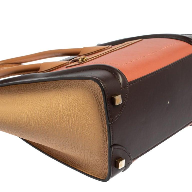 Celine Multicolor Leather Micro Luggage Tote For Sale 2