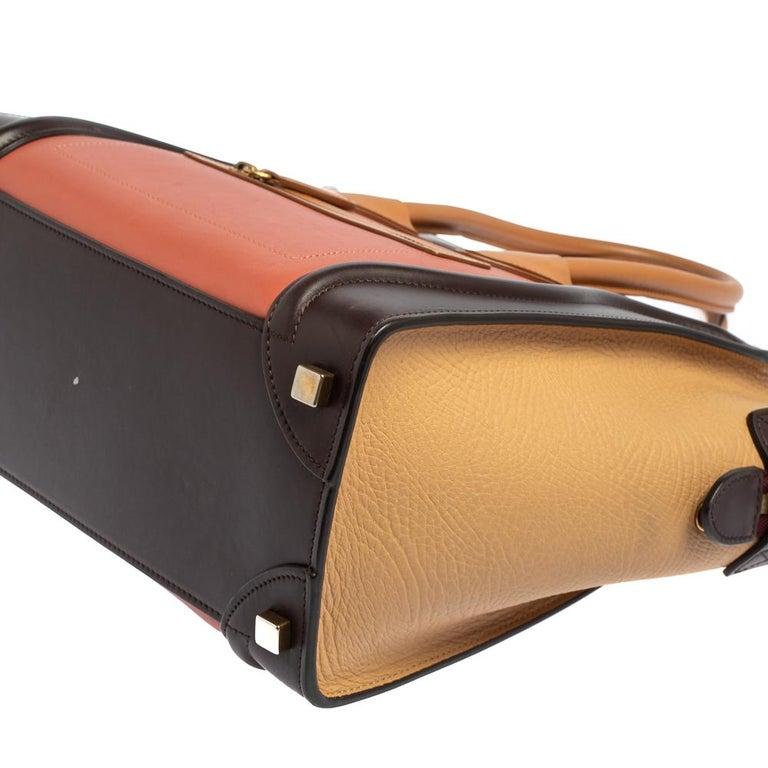Celine Multicolor Leather Micro Luggage Tote For Sale 3