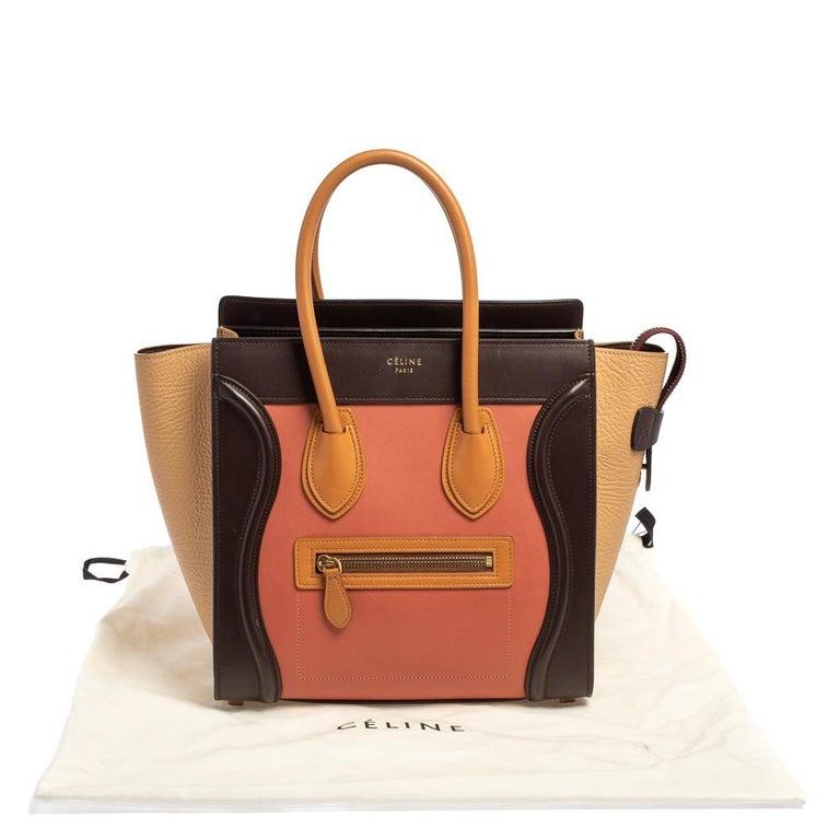 Celine Multicolor Leather Micro Luggage Tote For Sale 4