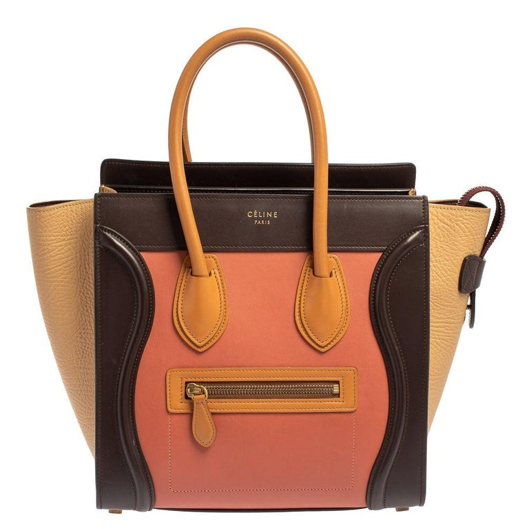 Celine Multicolor Leather Micro Luggage Tote For Sale