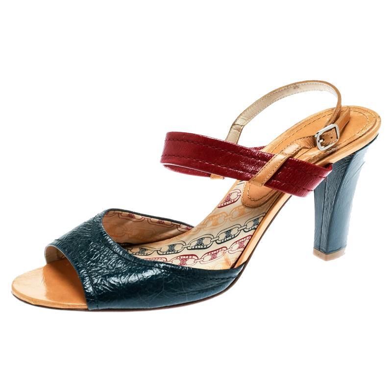 Celine Multicolor Leather Slingback Open Toe Sandals Size 39.5