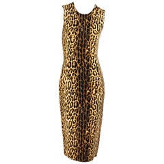 Celine Multicolor Leopard Sheath Dress