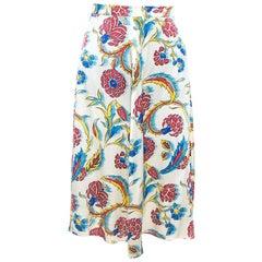 Celine Multicolor Printed Silk A-Line Skirt S