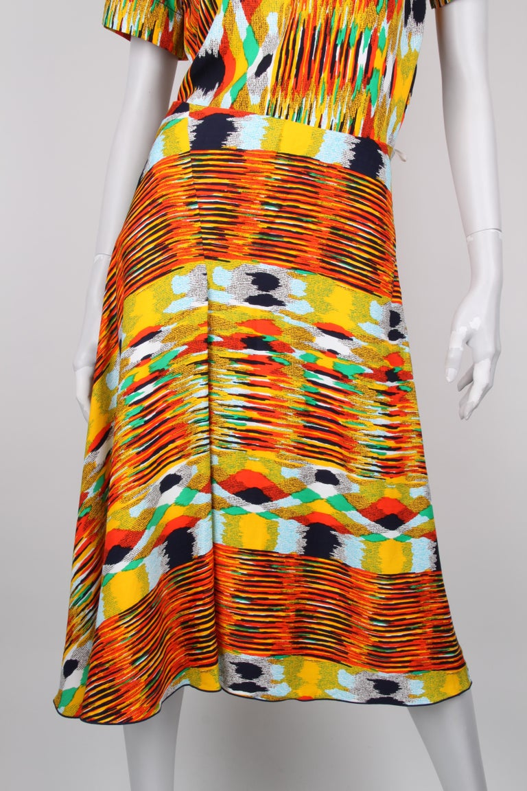 Céline Multicolour Tribal Print Tunic Top Skirt Two-Piece Set In Excellent Condition For Sale In Baarn, NL