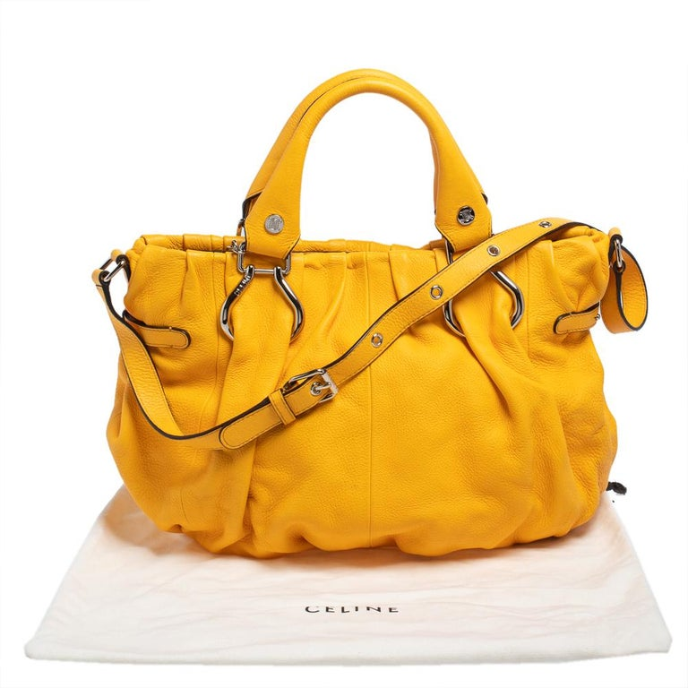 Celine Mustard Leather Tote For Sale 7