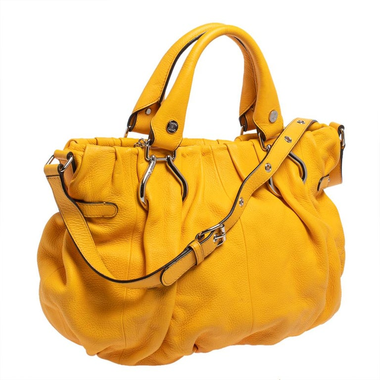 Yellow Celine Mustard Leather Tote For Sale
