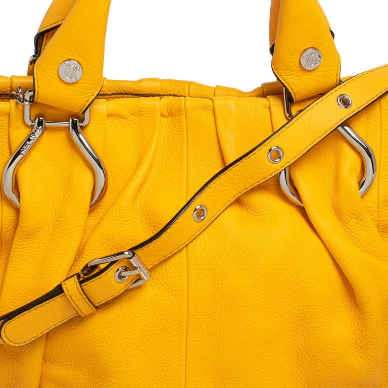 Celine Mustard Leather Tote For Sale 3