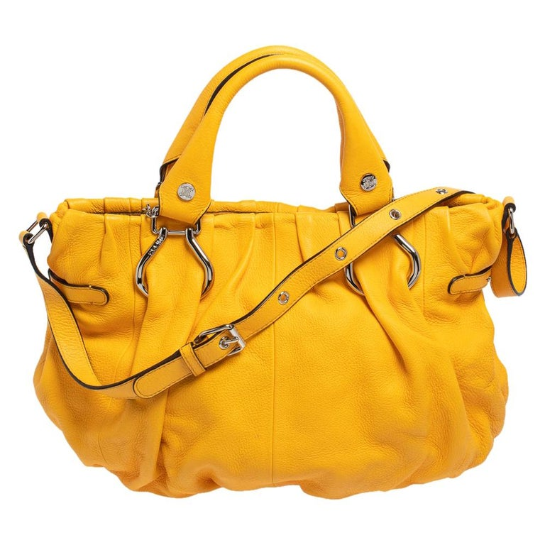 Celine Mustard Leather Tote For Sale