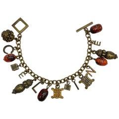 Celine Name & Logo Charm Bracelet with Antique Bronze Patina, 1990s