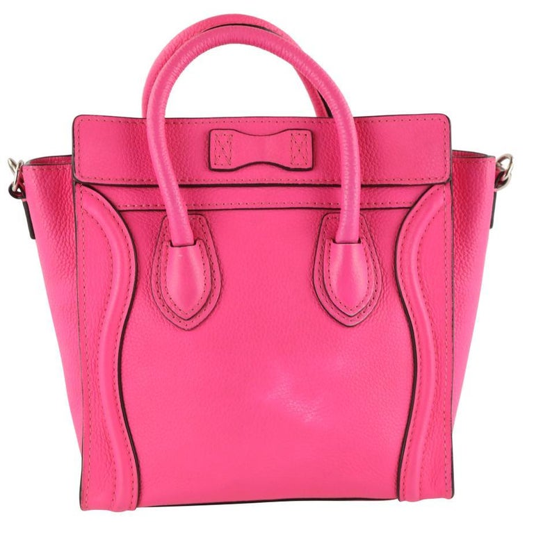 Céline Nano Luggage Tote Pink Leather Cross Body Bag In Fair Condition In Irvine, CA