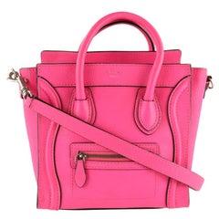 Céline Nano Luggage Tote Pink Leather Cross Body Bag