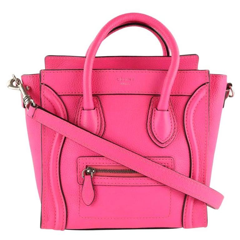 Céline Nano Luggage Tote Pink Leather Cross Body Bag