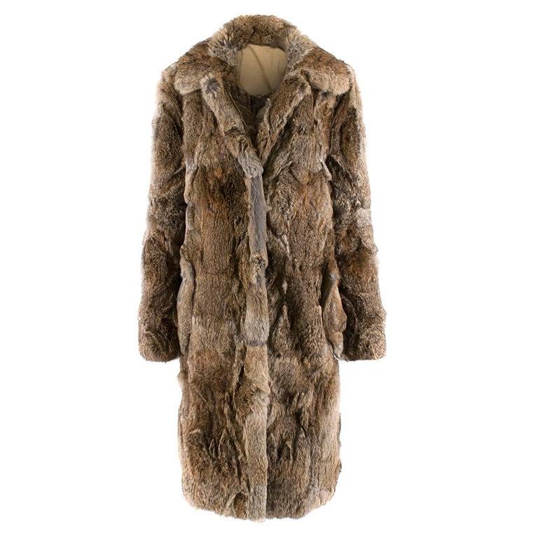 Celine Natural Rabbit Fur Longline Coat 42 FR For Sale 5