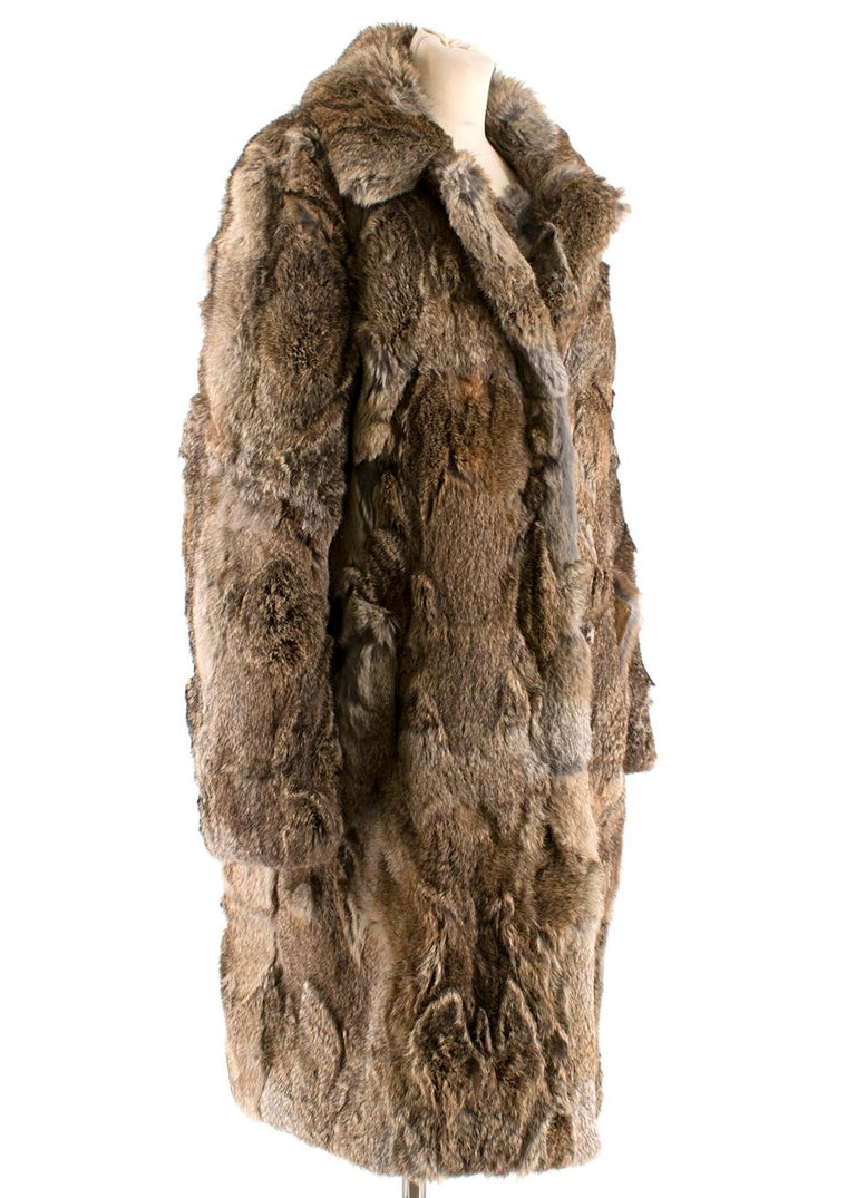 Celine Natural Rabbit Fur Longline Coat  - two slip side pockets - Zip fastening in silver metallic - concealed - Cotton Semi lining - Long sleeves with a chunky collar - Mixed colours of natural rabbit fur panels -Below the knee length