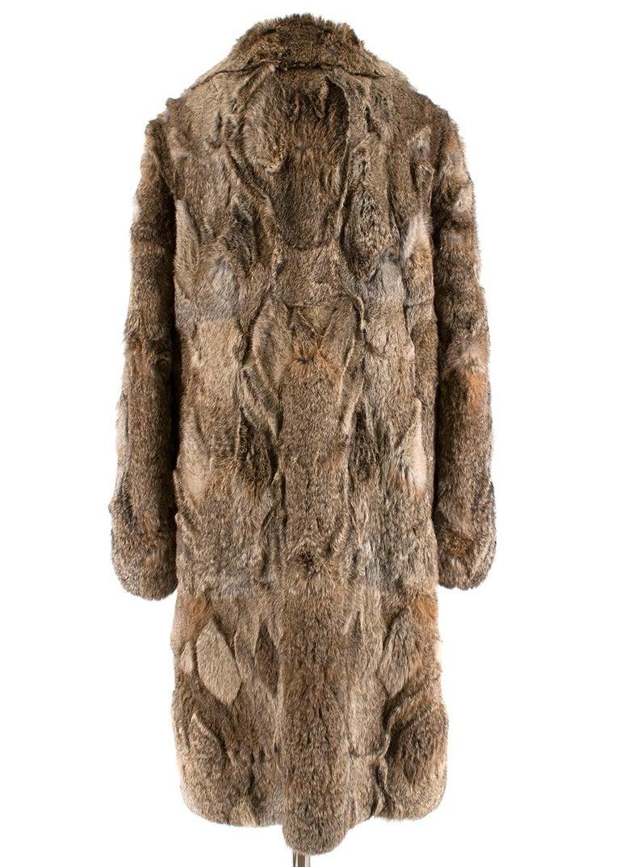 Brown Celine Natural Rabbit Fur Longline Coat 42 FR For Sale