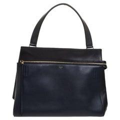Celine Navy Blue/Black Leather Large Edge Bag
