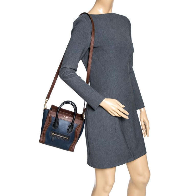 Black Celine Navy Blue/Brown Leather Nano Luggage Tote For Sale
