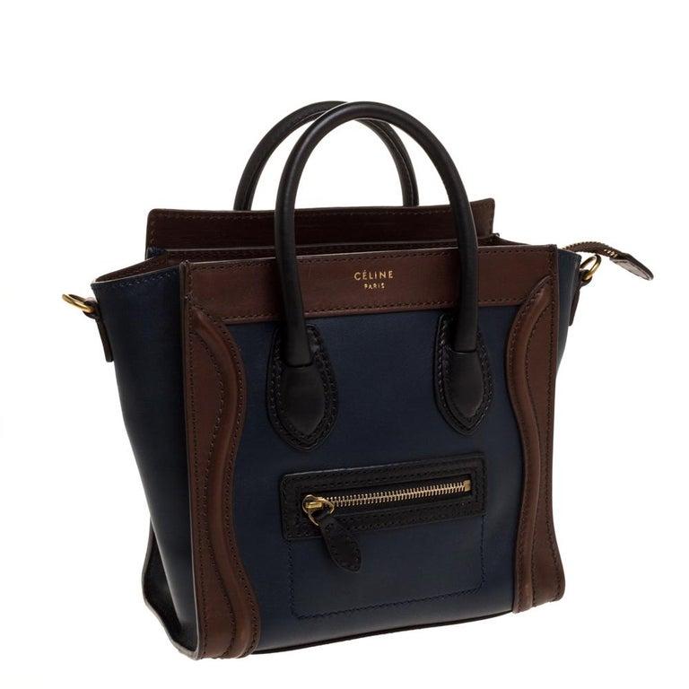 Celine Navy Blue/Brown Leather Nano Luggage Tote In Good Condition For Sale In Dubai, Al Qouz 2