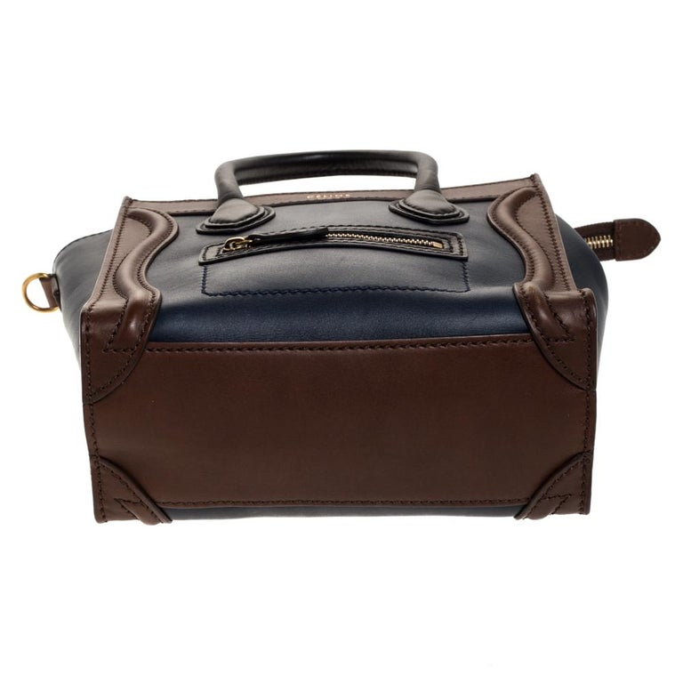 Women's Celine Navy Blue/Brown Leather Nano Luggage Tote For Sale