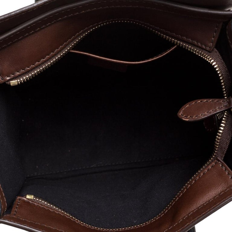 Celine Navy Blue/Brown Leather Nano Luggage Tote For Sale 2