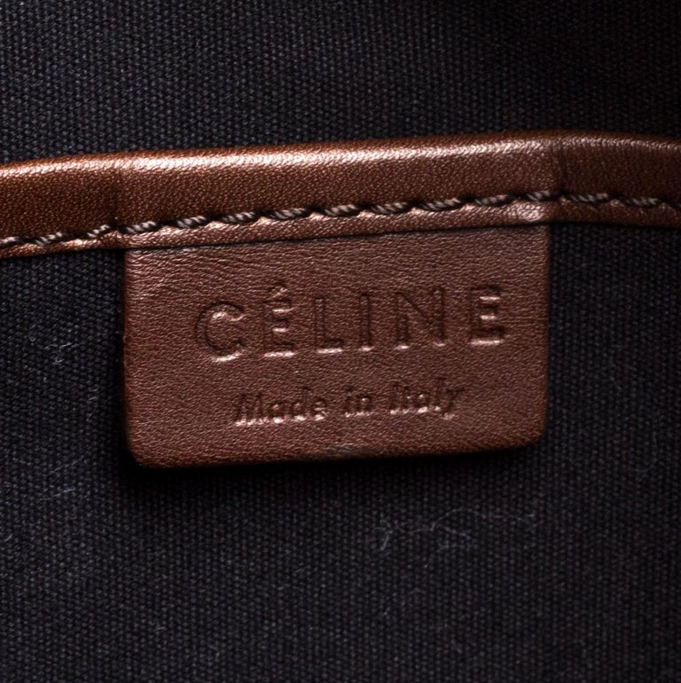 Celine Navy Blue/Brown Leather Nano Luggage Tote For Sale 3