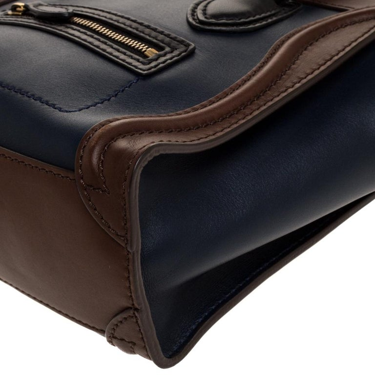 Celine Navy Blue/Brown Leather Nano Luggage Tote For Sale 4
