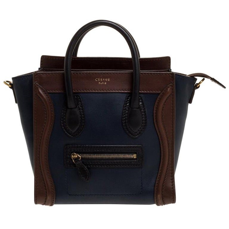 Celine Navy Blue/Brown Leather Nano Luggage Tote For Sale