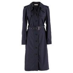 Celine Navy Blue Eyelet Belted Trench Coat SIZE FR 38