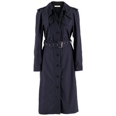 Celine Navy Blue Eyelet Belted Trench Coat SIZE US 6