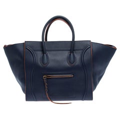 Celine Navy Blue Leather Large Phantom Luggage Tote