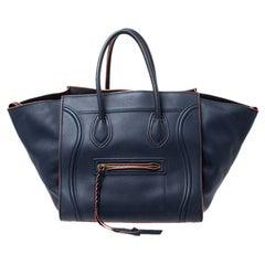 Celine Navy Blue Leather Medium Phantom Luggage Tote