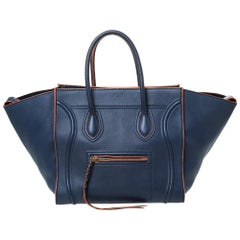 Celine Navy Blue Leather Medium Phantom Luggage Tote