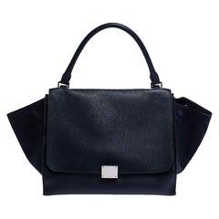 Celine Navy Blue Leather Medium Trapeze Bag