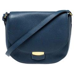 Celine Navy Blue Leather Medium Trotteur Shoulder Bag