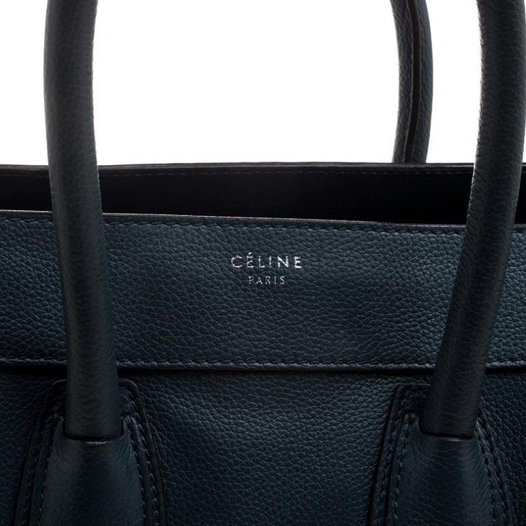 Celine Navy Blue Leather Mini Luggage Tote For Sale 5