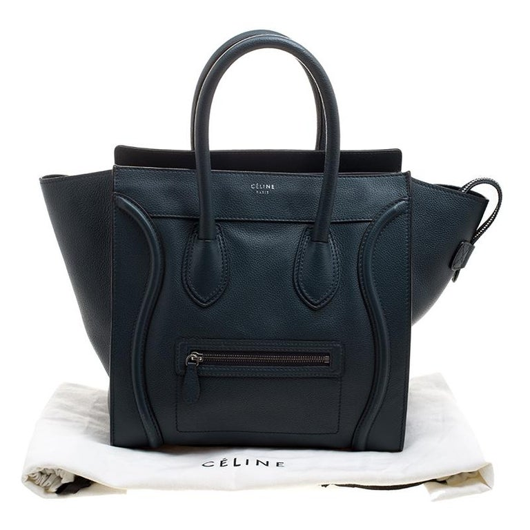 Celine Navy Blue Leather Mini Luggage Tote For Sale 6